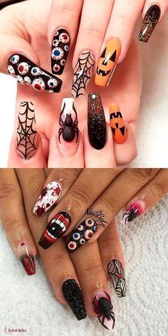 Die besten Halloween Nail Designs im Jahr 2018 - Nail Art - halloween nails Halloween Press On Nails, Cute Halloween Nails, Halloween Acrylic Nails, Halloween Nail Designs, Best Acrylic Nails, Acrylic Nail Designs, Nail Art Designs, Spooky Halloween, Halloween Halloween