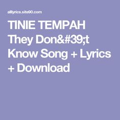 TINIE TEMPAH They Don't Know Song + Lyrics + Download
