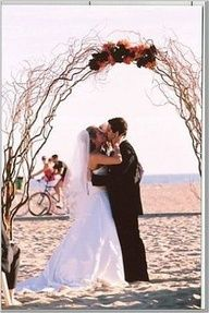 most arches seem overdone I would do this in white painted branches with lights and just top bending orchids