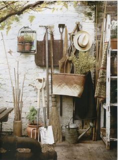 garden shed, garden tools, vine, straw hat. Please credit use to paul raeside Dream Garden, Garden Art, Garden Tools, Garden Sheds, Backyard Sheds, Garden Supplies, Art Supplies, Potting Sheds, Potting Benches