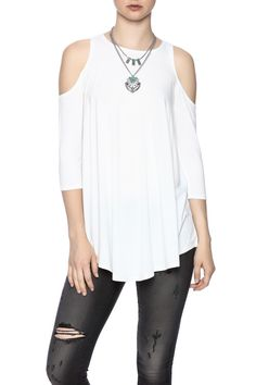 Cold shoulder top with a crew neckline and 3/4 sleeves.    Cold Shoulder Top by Survival. Clothing - Tops - Long Sleeve Clothing - Tops - Tees & Tanks Long Island, New York