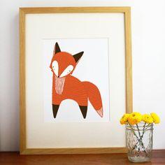 October Little Fox Illustration, Fox Art Print, Fox Art, Orange Fox Art - Free US Shipping on Etsy, 17,37€