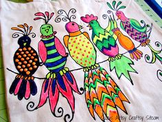 Free pattern for gossiping birds!  Makes a cute tote!