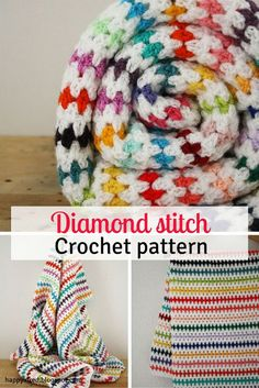 Crochet blanket, free crochet pattern. Diamond stitch blanket crochet pattern: step by step tutorial. Rainbow blanket, free crochet pattern | Happy in Red