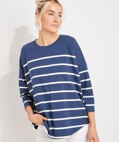 Shop Striped Deluxe Tee at vineyard vines Laid Back Style, Oversized Shirt, Classic Outfits, Tees, Shirts, Clothes For Women, Casual, Vineyard Vines, Mens Tops