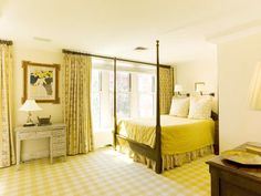 charming and simple yellow bedroom