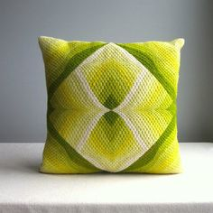 Vintage Needlepoint Pillow - Yellow Green Op Art Four Way Bargello 3D - 1970s - Colorful Bright Bold Modern Decor by BarkingSandsVintage on Etsy https://www.etsy.com/listing/253893259/vintage-needlepoint-pillow-yellow-green