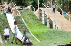 Interesting playground that makes good use of a hilly site.