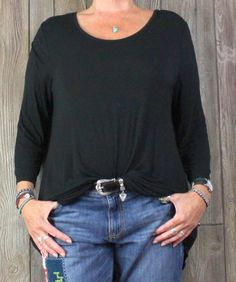 LOGO L XL size Black Blouse Soft Stretch Curved Hem Tunic Top Womens Comfort