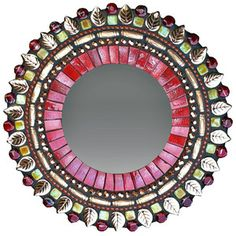 Red Bronze Mirror design inspiration on Fab. Mirror Mosaic, Round Wall Mirror, Mirror Work, Mosaic Art, Mirror Mirror, Stone Mosaic, Mosaic Glass, Glass Art, Stained Glass
