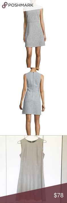 Theory Raneid Dress Beautifully tailored Theory Dress in light heather grey. Excellent condition.  Round neckline. Sleeveless. Seam at natural waist. A-line silhouette. Center back zip. Virgin wool/polyester. Lining, polyester/spandex. Theory Dresses Mini