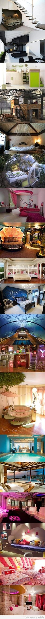 Dream Bedrooms.  LOVE the 4th one