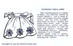 Love the look of vintage? Here's a cool little apron using the Dahlia applique pattern available for instant download here as a free pdf file.
