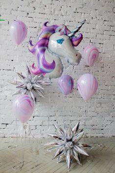 Фиолетовый сиреневый единорог фольги воздушные шары с серебро и акварельные шары в рождения идеи фотозона   Violet lilac foil unicorn balloons with silver and watercolor balloons birthday party ideas photozone
