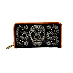 Loungefly Black and Tan Skull Wallet