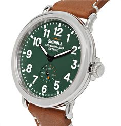 Quality American craftsmanship lies at the heart of <a href='http://www.mrporter.com/mens/Designers/Shinola'>Shinola</a>'s brand ethos. Made by highly skilled workers in the label's Detroit factory, 'The Runwell' watch has a polished stainless steel case, durable Horween leather strap and precision-based Argonite 1069 quartz movement. The handsome pairing of dark-green and light-brown will make a stylish addition to casual looks.
