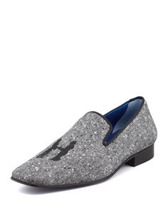 Hadleigh's Drake Men's Donegal Tweed Slipper, Gray, Size: 10.5D, Grey