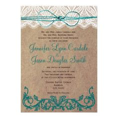 Rustic Country Lace Brown Teal Wedding Invitations #wedding