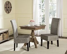 Safavieh Home Collection Arjun Wicker Dining Chair, Antique Grey