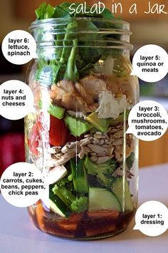 Salad in a Jar-love this idea for a take to work lunch, and the salad doesn't get soggy!!