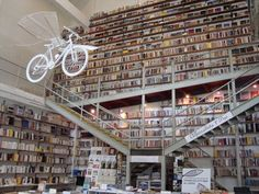 This store has a flying bike and books to the ceiling. Need we say more? Ler Devagar, Lisbon, Portugal