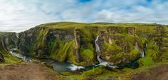 Fjaðrárgljúfur Panorama by Stefan Thaler on 500px  Fjaðrárgljúfur is a magnificent and massive canyon, about 100 meters deep and about two kilometres long. The canyon has sheer walls, and is somewhat serpentine and narrow. The bedrock in Fjaðrárgljúfur is mostly palagonite from cold periods of the Ice Age and is thought to be about two million years old. www.stefanthaler.net