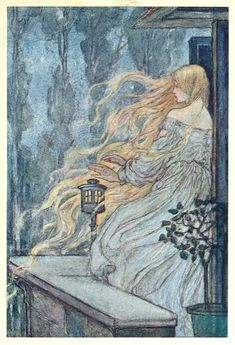 'My mother taught me prayers To say when I had need' ~ Illustration by Florence Harrison, from Early poems of William Morris, New-York, 1914. Via archive.org.
