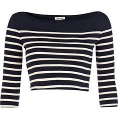 River Island Blue and white placement stripe crop top (68 VEF) ❤ liked on Polyvore featuring tops, shirts, crop tops, t-shirts, sale, boat neck striped shirt, shirts & tops, blue and white stripe shirt, striped top and striped boatneck shirt