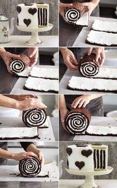 Striped Cake How to Make Gorgeous Chocolate Stripe Cake Food Cakes, Cupcake Cakes, Cake Fondant, Sweet Recipes, Cake Recipes, Dessert Recipes, Baking Desserts, Easy Desserts, Beautiful Cakes