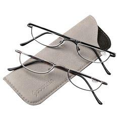 bf0bf99445596 SOOLALA Womens Slim EYE GLASSES READERS Semi-Rimless Alloy Flat Top Half  Frame  SOOLALA
