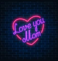 Happy mothers day neon glowing festive sign on a vector image on VectorStock Tumblr Neon, Cute Images For Dp, Neon Signs Quotes, Love My Parents Quotes, Neon Words, Whatsapp Wallpaper, Neon Design, Name Wallpaper, I Love My Dad