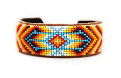Traditional Native American Inspired Beaded Colorful Tribal Bracelet Leather Navajo Western. $ 30.00, via Etsy.
