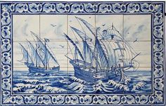 Caravels , Azulejos de Azeitao #Azeitão #tiles. Hand made #art from #Portugal to all the world. #Historic and #tradition more ... pinned with Pinvolve - pinvolve.co