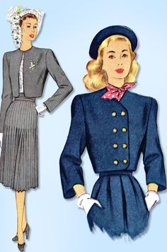 1940s Vintage McCall Sewing Pattern 6916 Uncut Misses Bolero Suit Size 12 30 B #McCall #JacketPattern