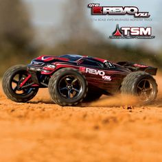 Traxxas® 1/16 E-Revo® VXL Brushless TSM 4WD RTR. Now with Traxxas Stability Management! The 1/16 E-Revo VXL may be scaled down, but its power isn't! It's been updated with a TQ 2.4GHz radio system for superior control.