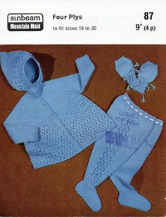 baby pram set knitting pattern PDF 4 ply baby hooded jacket leggings mitts coat with hood Vintage 60s 18-20 inch 4ply Instant download by coutureknitcrochet on Etsy
