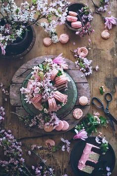 flowers, cake, and macarons