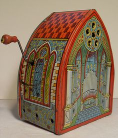 Vintage 1940s Crank Wind Up Tin Metal Toy Church Organ I love the colours used and this image has given me the idea of using similarly vibrant colours in a decorative way