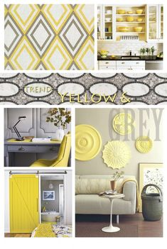 Love the disks on the wall, Grey and Yellow Living Room Design | Luxury Interior Design Journal. This goes with the graphic pattern idea along with the frames & layers pattern & grey & white & black with a yellow pop
