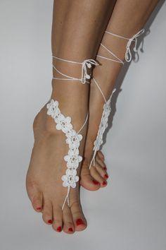 Crochet sandalias pies descalzos zapatos de boda de playa