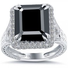 7.63 Carat Certified Emerald Cut Black Diamond Ring 18k Pave Halo Vintage Style - Black Diamond Engagement Rings - Engagement - Lioridiamonds.com