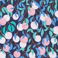 The Bare Necessities by Sarah Watson Bird's Eye View Cloud 9 Fabrics  OE 100 Certified Organic Cotton Pink Blue Fabric Fruit Fabric