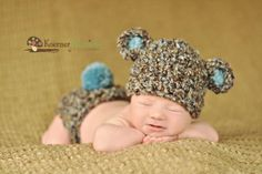 Newborn Baby Boy Hat in Brown Blue and Tan  Bear Hat by EcoStreet, $29.00
