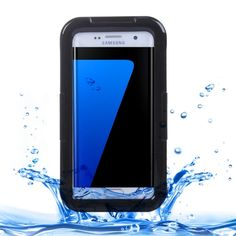 [USD5.03] [EUR4.54] [GBP3.52] For Samsung Galaxy S7 Edge / G935 IPX8 Plastic + Silicone Transparent Waterproof Protective Case with Lanyard (Black)