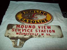 vintage license plate topper Sterling Gasoline Moundsville WV