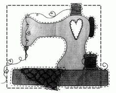 Molde para capa de máquina de costura Wool Applique, Applique Patterns, Applique Designs, Sewing Patterns, Sewing Hacks, Sewing Crafts, Sewing Projects, Sewing Machine Quilt Block, Sewing Clipart