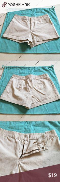 J. Crew chino shorts Chino shorts, light khaki colored. Zip front with tab closure. J. Crew Shorts
