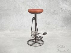This Holy Funk retro, industrial bicycle stool is an absolute gem with an ability to totally transform the look and feel of your cafe, kitchen or bar. The industrial stool is designed with a fantastic tanned brown leather seat, recycled bicycle pedals and of coarse the chain to suit. | eBay!