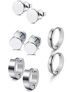 FOXI YOUTH Double Side Barbell Screw Back Stainless Steel Earrings Black Lines