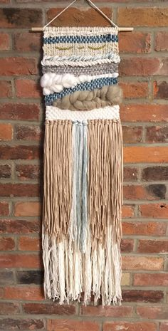 "Large woven wall hanging | tissage fringe | white + blue | 38"" x 10"" by HandyThing on Etsy"